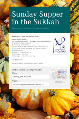 Sunday Supper in the Sukkah