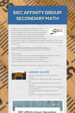SIEC Affinity Group: Secondary Math
