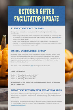October Gifted Facilitator Update