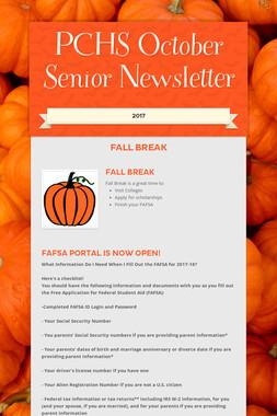 PCHS October Senior Newsletter