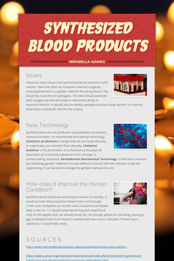 Synthesized Blood Products