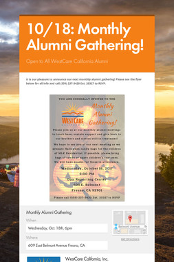10/18: Monthly Alumni Gathering!