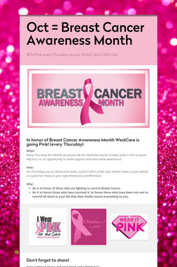 Oct = Breast Cancer Awareness Month