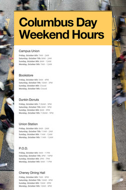 Columbus Day Weekend Hours
