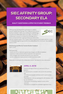 SIEC Affinity Group: Secondary ELA