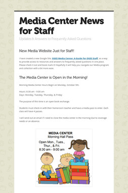 Media Center News for Staff