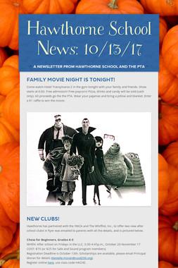 Hawthorne School News: 10/13/17