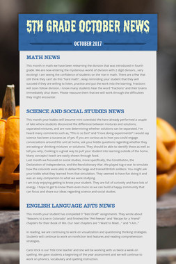 5th Grade October News