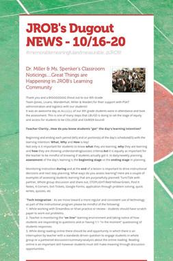 JROB's Dugout NEWS - 10/16-20