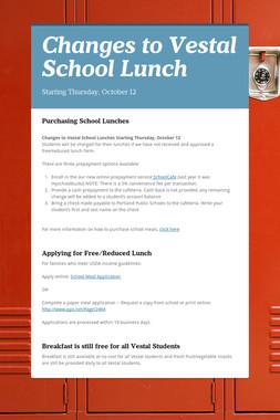 Changes to Vestal School Lunch