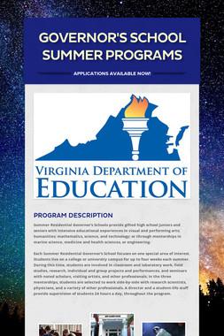Governor's School Summer Programs