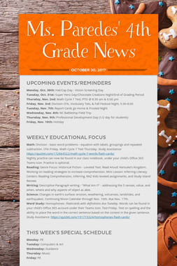 Ms. Paredes' 4th Grade News
