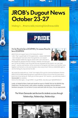 JROB's Dugout News  October 23-27