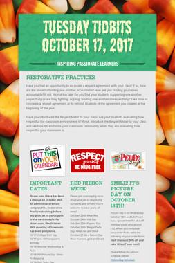 Tuesday Tidbits October 17, 2017