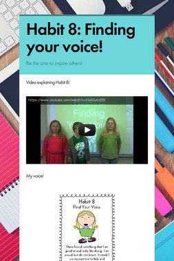 Habit 8: Finding your voice!