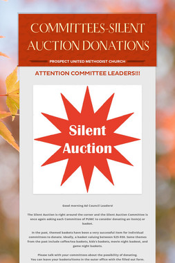 COMMITTEES-SILENT AUCTION DONATIONS