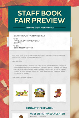 Staff Book Fair Preview