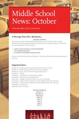 Middle School News: October