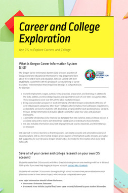 Career and College Exploration
