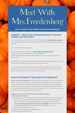 Meet With Mrs.Freedenberg