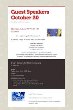 Guest   Speakers October 20