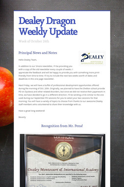 Dealey Dragon Weekly Update