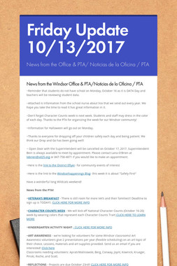Friday Update 10/13/2017