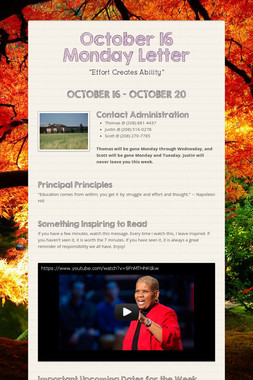 October 16 Monday Letter