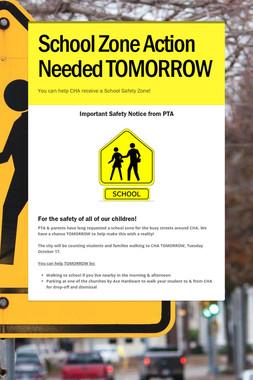 School Zone  Action Needed TOMORROW