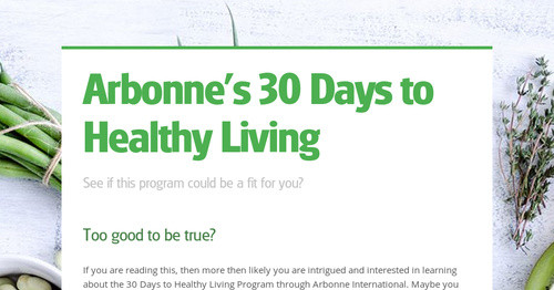 Arbonne S 30 Days To Healthy Living
