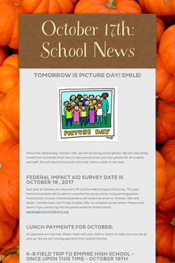October 17th: School News