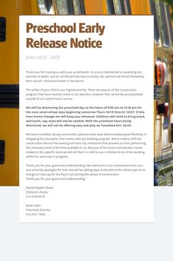 Preschool Early Release Notice