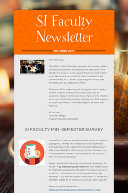 SI Faculty Newsletter