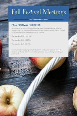 Fall Festival Meetings