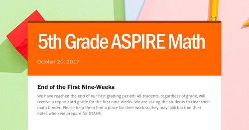 5th Grade Aspire Math Smore Newsletters