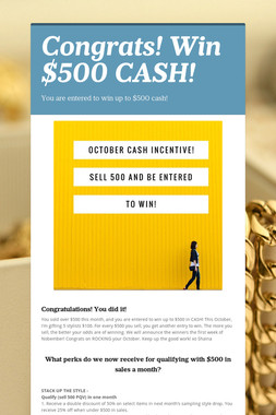 Congrats! Win $500 CASH!