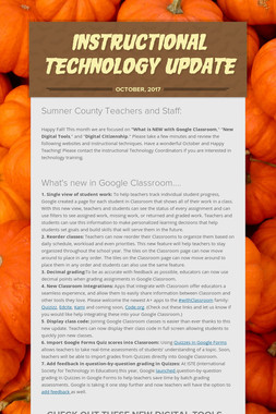 INSTRUCTIONAL TECHNOLOGY UPDATE