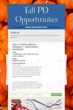 Fall PD Opportunities