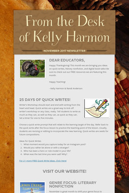 From the Desk of Kelly Harmon