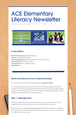 ACE Elementary Literacy Newsletter