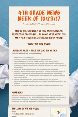 4th Grade News Week of 10/23/17