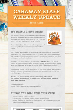 Caraway Staff Weekly Update
