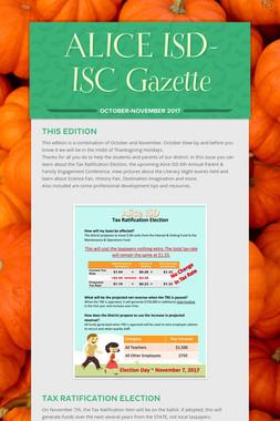 ALICE ISD- ISC Gazette