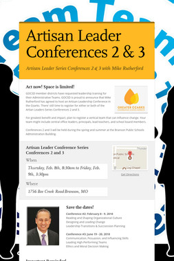 Artisan Leader Conferences 2 & 3