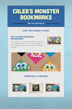 Caleb's monster Bookmarks