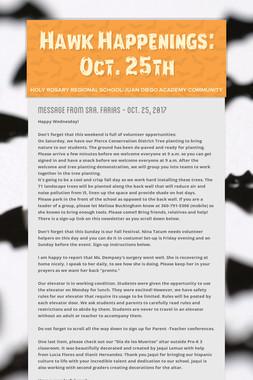 Hawk Happenings: Oct. 25th