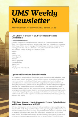UMS Weekly Newsletter