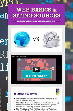 Web Basics & Siting Sources