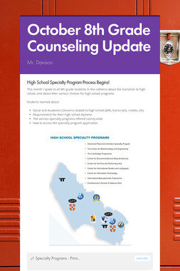 October 8th Grade Counseling Update