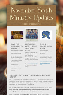 November Youth Ministry Updates